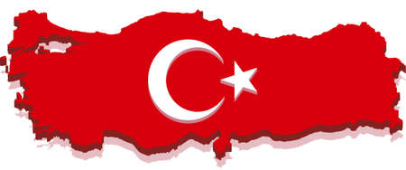 Turkey Map with Turkish Flag 3D, isolated on white background. Vector
