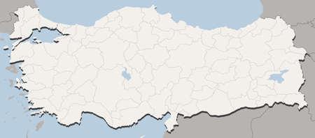 turkey istanbul: Dettagliata illustrazione vettoriale della mappa della Turchia con tutte le 81 citt�. Province  citt�, citt� e paese Borders, laghi sono su livelli separati. Ogni citt� pu� essere selezionato e recoloured separatamente.
