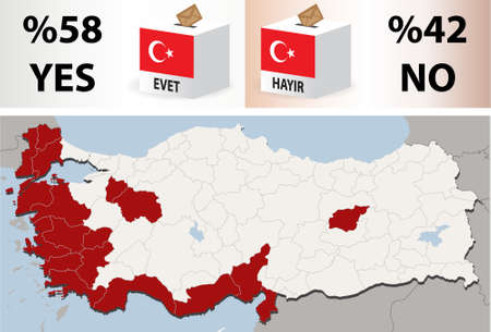 Detailed Vector illustration of map of Turkey with 12 September 2010 referendum results, including all 81 cities. Provinces  Cities, City and Country Borders, Lakes are on separate layers. Each city can be selected and recoloured separately.    Vector