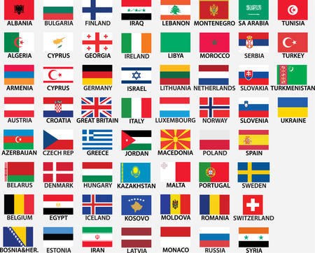 national flags of all european countries, whole countries included, even kosovo, bosnia etc.