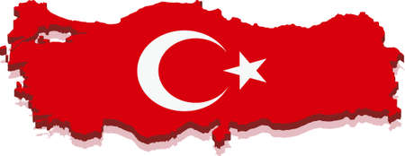 Map of Republic of Turkey with flag, Isolated on white background.  Vector