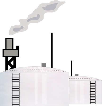 smoke stack: concetto di illustrazione per la raffineria di petrolio industria con due serbatoio di stoccaggio