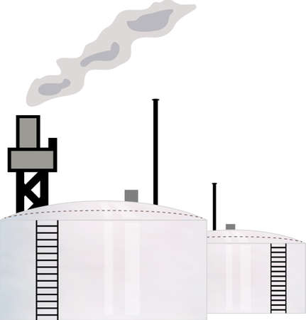 illustration concept for oil industry refinery with two storage tank Vector