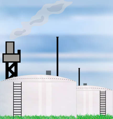 fuel storage tank: illustration concept for oil industry refinery with two storage tank