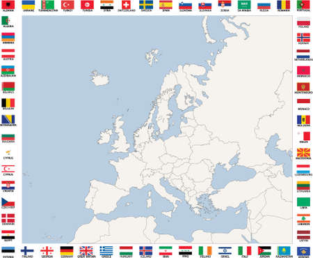 Map of The European Countries in blue and grey tones, each country placed inseperate layer, thus you can select and recolor each country easily, also there is flag of each country Stock Vector - 7824499