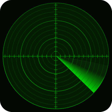 armed: illustration of radar in green colors tones and on black background
