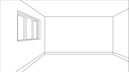 living room wall: Virtual model room sketch with only outer lines of the shapes