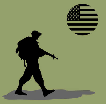 war on terror: Silhouette of an army soldier walking on green background with a usa flag like the sun