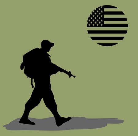coast guard: Silueta de un soldado del ej�rcito caminando sobre fondo verde con una bandera de Estados Unidos como el sol