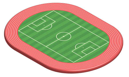 3 dimensional: 3 dimensional football field pitch along with racetrack