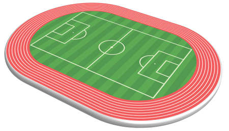 3 dimensional football field pitch along with racetrack    Vector