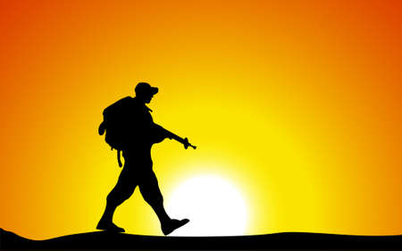 armed: Silhouette of an army soldier walking on hilltop against sunset