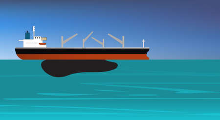 illustration of oil spill off a vessel of crude oil Stock Vector - 7824513