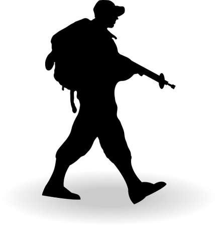 Silhouet van een leger soldaat wandelen op en tegen witte achtergrond