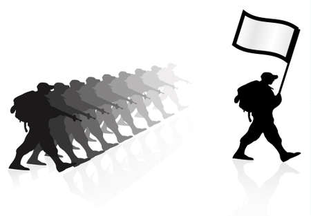 war on terror: Silhouette of an army soldiers walking in group with a flagand guns in hands representing a victory