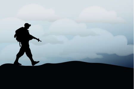 Silhouette of an army soldier walking on hills against blue sky Illustration