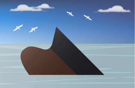 mining ship:  illustration of   a vessel of crude oil sinking into the sea
