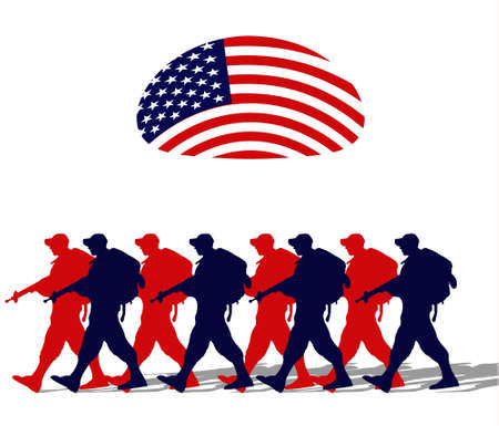 Silhouette of an army soldiers walking under a usa flag  Vector