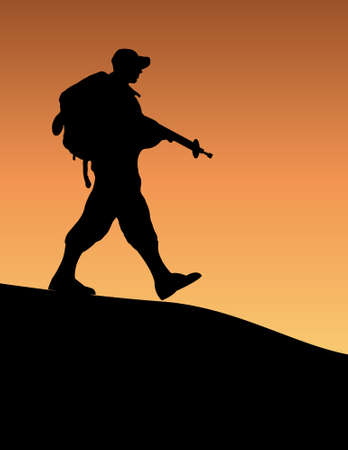 Silhouette of an army soldier walking on hills against sunset Vector