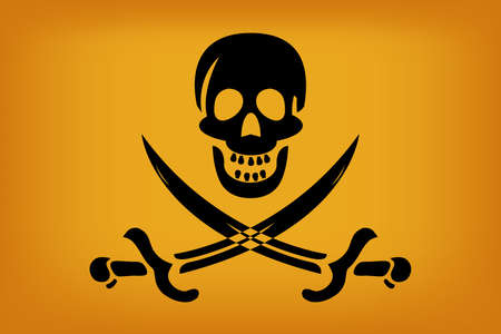 illustraion of pirate flag with black skull over sun color tones  Vector