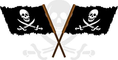 illustraion of pirate flag with white skull over white background Vector