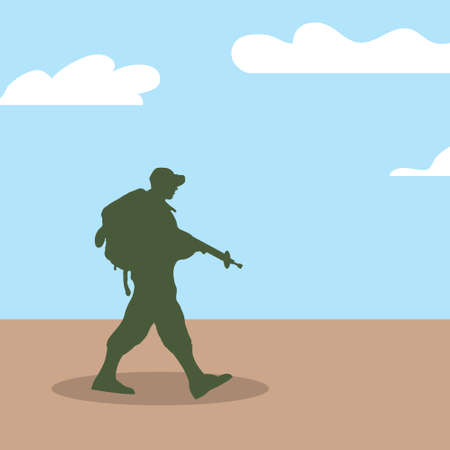Silhouette of an army soldier walking on hills against a blue sky background Vector