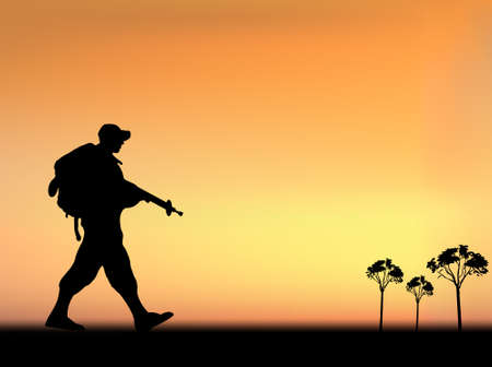 war on terror: Silhouette of an army soldier walking on hills against blue sky Illustration