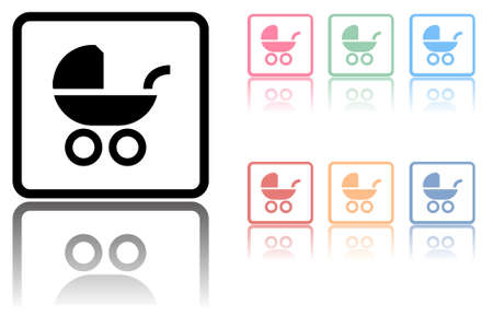 Baby carriage icon with a reflection underneath on white Stock Vector - 7824531