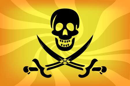 swashbuckler: illustraion of pirate flag with white skull over sunburst
