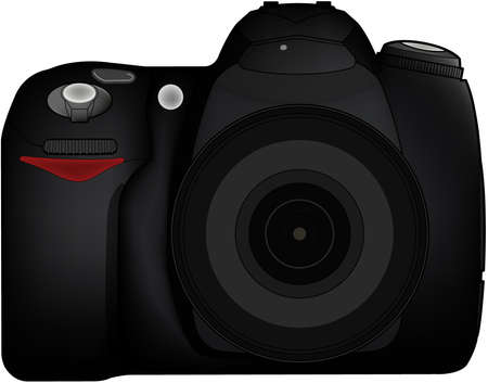 Isolated DSLR camera from frontside with lens and built in flash Vector