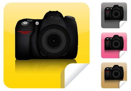 finder: Isolated DSLR camera from front side with lens and built in flash