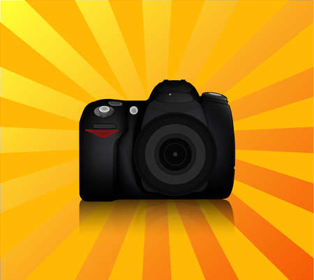 dslr camera: Aislada c�mara r�flex digital de frontal con lente y flash incorporado