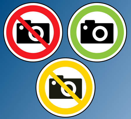 No Photography, Photography banned, Photography prohibited, Camera banned  Vector