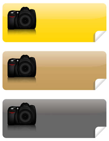 Isolated DSLR camera from front side with lens and built in flash  Stock Vector - 7908761