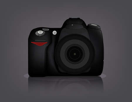 dslr camera: R�flex digital aislado de frontal con lente y flash incorporado  Vectores