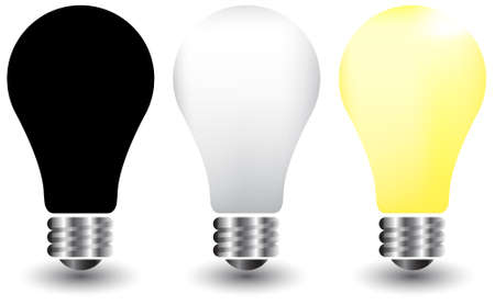 illustration of  bulbs on white, yellow and black Stock Vector - 7908758