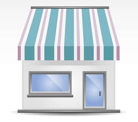 illustratie van Store front luifel in blauw en paars