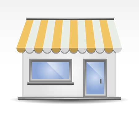 illustration of  Storefront Awning in Yellow Vector