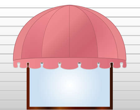 illustration of Storefront Awning in reddish pink  Vector