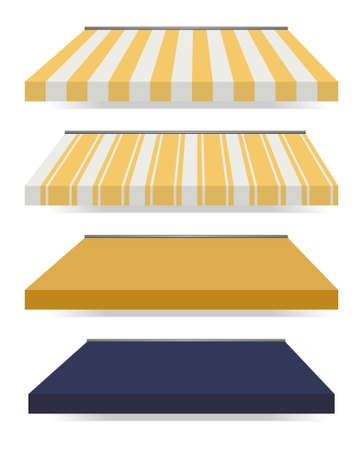 illustration of four different colored awnings
