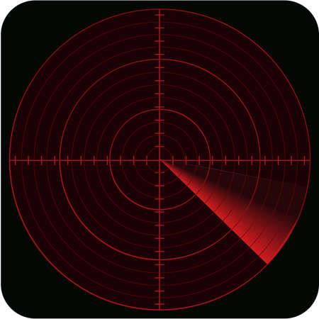 medical scans: illustration of radar in red color tones and on black background