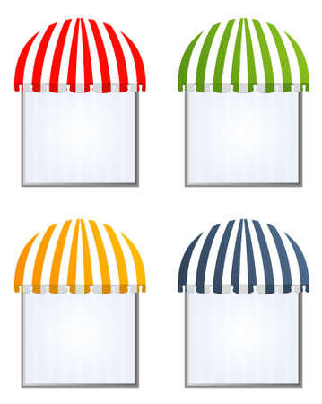 illustration of four different colored awnings Stock Vector - 7998065