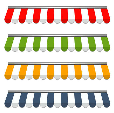 vendeurs: illustration vectorielle de quatre diff�rents vecteurs color� auvents