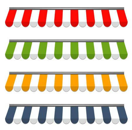 vendedores: ilustraci�n vectorial de cuatro de vector de colores diferentes de toldos