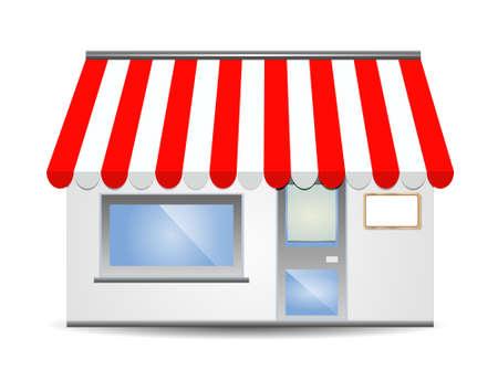 vector illustratie van Store front luifel in het rood  Vector Illustratie