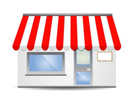 storefront: vector illustration of Storefront Awning in red
