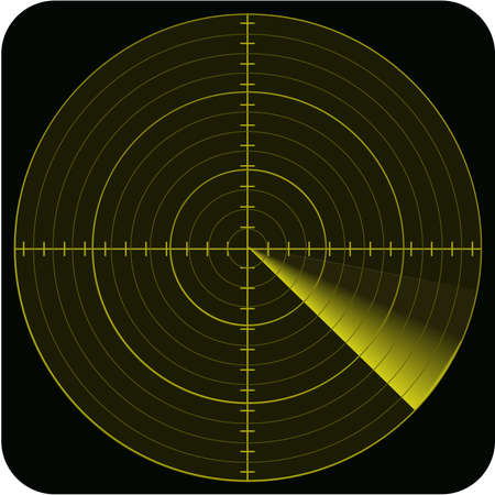 alertness: illustration of radar in yellow colors tones and on black background