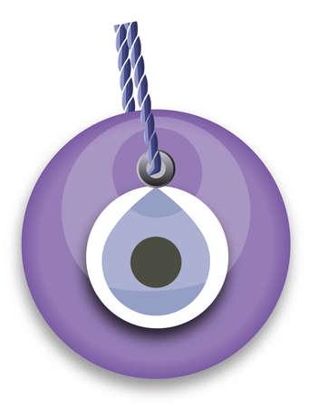 purple bead, worn to avert the evil eye Vector