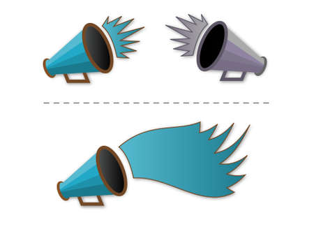 collegiate: vector illustration of Megaphone shout-out in blue green