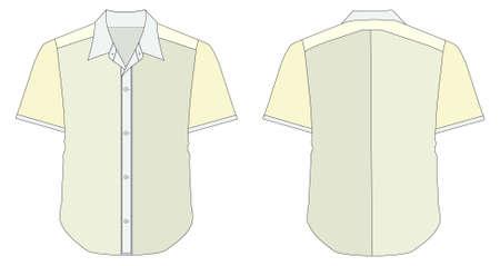 dress shirt: vector illustration of Collar Dress Shirt In Blue Yellow Color Tones Illustration